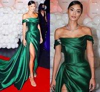 Hunter Green Red Carpet Evening Dresses 2022 Off Shoulder Slit Dubai Arabic Aso Ebi Pleated Stain Prom Dress vestidos de noche