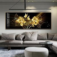 Paintings Black Golden Rose Flower Butterfly Abstract Wall Art Canvas Painting Poster Print Horizonta Picture For Living BedRoom Decor