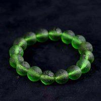 Bangle Bracelet Luxury designer8mm Green Moldavite Czech Meteorite Impact Glass Rough Hand Catenary Crystal Energy Stone Bracelets for Women