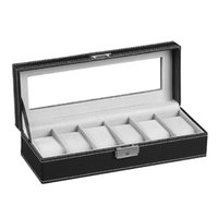 Watch Boxes & Cases Black Storage Organizer Box Men Case Wooden PU Leather Watches Gift Ideas