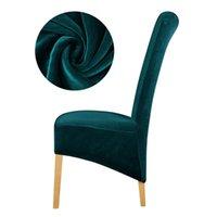 Seleres мягкий плюшевый стул крышка натягивает высокие длинные задние скольжения для рождественских сплошных цветов спандекс / из полиэстера современный дом 210724