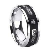 8mm hombres anillo simple atmosférico negro blanco incrustado anillos de cristal boda banda de compromiso de la banda de cóctel de la joyería para