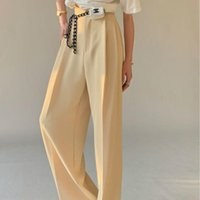 Women's Pants & Capris Designer Elegant Suit Women Summer 2021 Slim Casual Korean Fashion Wide-legged Solid High-waist Office Lady Clothing