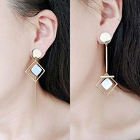 Stud 2021 Gold Color Earrings For Women Asymmetric Trendy Round Geometric Drop Statement Earring Fashion Matted Jewelry Gift
