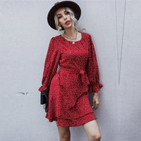 Autumn Winter Ruffles Dot Print Casual o Neck High Waist Slim Bandage for Women New Fashion 0nrz