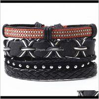 Tennis Drop Delivery 2021 Black Rivet Braided Punk Charm Handmade Woven Leather Bracelets Set Women Vintage Bangle Male Homme Men Jewelry Aes