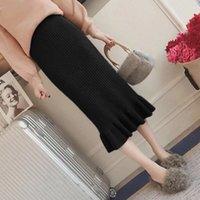 2020 Autumn Winter New Midi Skirt For Women Elegant Ruffle High Knitting Skirts A Line Slim Fit Party Woman Skirts
