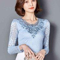 TwicEfanx Autunno Donne Camicette Camicette a maniche lunghe Diamonds Pizzo Elegante Moda Blusa Camicie Plus Size Top 918B 210420