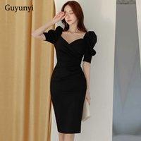 Siyah Kalem Ofis Lady Elbise Bahar Kore Versiyonu Basit V Yaka Puf Kollu Yüksek Bel Sıkı Zarif Parti Kadınlar 210608