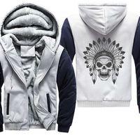 Hand Drawn Indian Skull Print Graffiti Thick Winter Hoodies Streetwear Men Loose Hoodies Punk Hip Hop Coat Jacket Plus Size 5XL Q0831