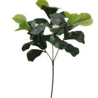 6 шт. Искусственная лирата листья листьев Faux Green Ficus Pandurata Дерево ветви дерева для зелени стены Цветочные украшения