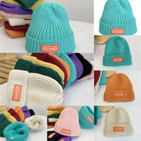 Sweet Cool and ~ Lake Blue Wool Hat Children's Korean Version Cloth Letter Knitted Winter Pullover Warm WQ6V