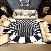 Современный ковер спальни ковры черная белая сетка печатает 3D иллюзия вихревой бездонный отверстие хрустальные бархатные ковры для гостиной