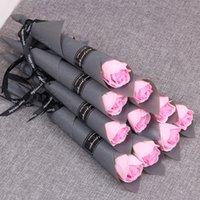 Einzelner Stamm Künstliche Rose Romantische Valentinstag Hochzeit Geburtstag Party Seife Rose Blume Rot Rosa Blau 1335 v2