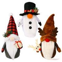 Рождественские украшения безликий гнома ручной работы плюшевые санта снеговик оленей кукла домашняя вечеринка Windows Ornament XBJK2108