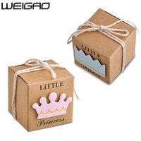 Weigao 20/40 adet Kraft Kağıt Şeker Kutusu Çanta Bebek Duş Çocuk Hediyeler Misafirler Için Küçük Prens / Prenses Taç Mutlu Doğum Günümü