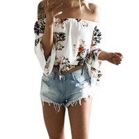 أزياء بلوزة المرأة 2021 الصيف طويلة الأكمام قبالة الكتف فضفاض قميص عارضة ضئيلة femininas suretimes المرأة البلوزات القمصان