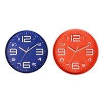Wall Clocks 2Pcs 3D Number Quartz Silent Non Ticking Clock Decorative Battery Operated 10 Inch - Blue & Orange