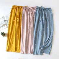 Women's Sleepwear Autumn Pajama Pants Women Cotton Sleep Bottoms Leisure Sports Loose Trousers Lounge Wear Elastic Waist Home Cloth