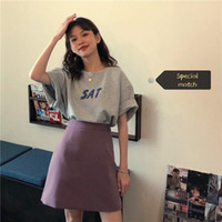 Women's Tracksuits College Style Suit Dress Female Korean Student T-Shirt Top High Waist Skirt Short Two Piece Fashion