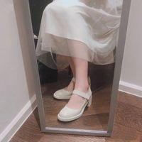 White Women Dress Shoes Shoes Luxurys Designers 2021 Primavera Verano Fiesta Fiesta Cuero Chunky Heel Mary Jane Cabeza Redonda Profesional Soltero Soltero