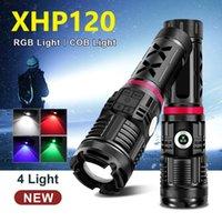 مصباح يدافع مشاعل قوية LED XHP120 متعدد الألوان أضواء قابلة للشحن التكتيكية 18650 USB عالية الطاقة الشعلة XHP90.2 مصابيح اليد