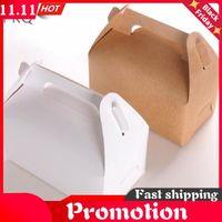 20pcs Wholesale Kraft Paper Cake Box With Handle Brown Cupcake Wedding Cardboard Boxes White Mousse Packaging Gift Wrap
