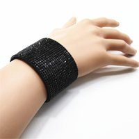 Link, Chain Black Design Gorgeous Trendy Rhinestone Wide Link Leather Bracelets Women Fashion Bangle Female Wedding Jewelry