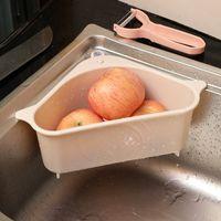 Küchenaufbewahrungsregalablaufkörbe Regale mit Saugbecher Waschbecken Ecke Kunststoff Schwamm Pinsel Tuch Siebkorb entwässern GWB7351