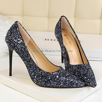 Dress Shoes Bigtree Sequins Women Pumps Gold Silver High Heels Woman Wedding Stiletto Ladies Sexy Bling Female 34-43