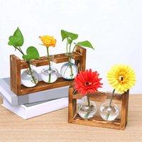 Bulb Vase Glass Wood Flower Jar Planter With Wooden Rack Stand Holders For Green Water Plant Table Desk Decor Vases