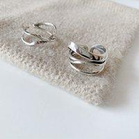 Кольца Anenjery 925 Стерлинговое Серебро Личность Простое Крестовое Обозковое кольцо для Женщин Геометрические Открытый Пальц Ювелирные Изделия S-R649
