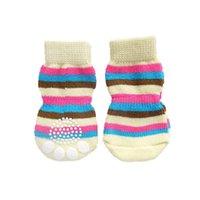 Dog Apparel Pet Puppy Cat Anti-slip Knit Cotton Weave Sock 4 Pcs Color