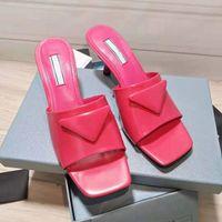 Fashion 2021 Fabbrica Vendita diretta Vendita Donne Pantofole da donna Testa quadrata Real Pelle Medio Tacco Designer Designer Designer Strada 6.5cm con scatola ZLH