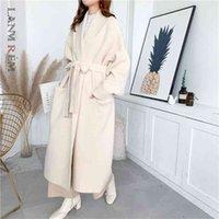 Lanmrem alpaca вязать кардиган куртка женщины осенью и зима дикий средне длина свитер свободный и густой pc285 210918