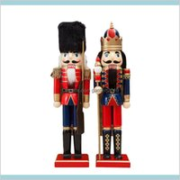 Christmas Decorations Festive & Party Supplies Home Garden Solid Wooden Crafts 38Cm Fine Nutcracker Soldier Shape Puppet For Office Ho