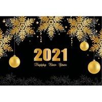 Party Decoration Happy Year 2021 Backdrop Złoty płatki śniegu Fajerwerki Pogografia Tło Xmas Decor Po Booth Studio Prop