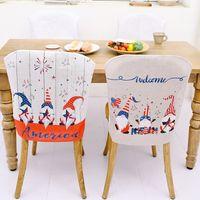 Белые гномы стул крышка США независимость день патриотический узор безликий карлик столовая кухня ресторан стулья декор