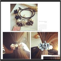 Big Pearl Flower Goma Hairband Mujeres Adorno Giros para niñas bruscas para la banda elástica de doble capa GXXJF HAFNG