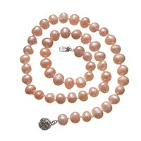 Chains Pink Natural Freshwater Pearl Beads High Quality Necklace Round DIY Tie Elegant Jewelry Making 18inches