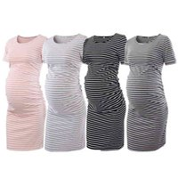 New Maternity Dress Mother Short Mouths Ladies Around the Neck Uk Streep Soft Cato for Pregnancy Women Nursing Clothing Effects