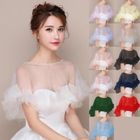 Wraps & Jackets Women Wedding Sheer Tulle Cape Ivory Bridal Shawl O-Neck Beaded And Ruffle Formal Wrap Lady Soft Prom Party Evening Capes