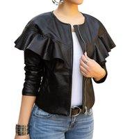 Black Faux Leather Bomber Jacket Women Long Sleeve Zipper Ruffle Shrug Motorcycle Slim Short Coats and Jackets Outerwear