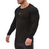 피트니스 셔츠 남성 블랙 긴 소매 체육관 스포츠 티셔츠 남자 Rashgard 러닝 티셔츠 O 넥 보디 빌딩 티셔츠 조깅 탑