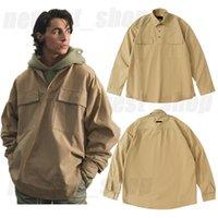Inverno Autumn Designer Europa USA High Street Mens Giacca Camicie Moda Casual Canvas Cargo 7th Oversize Cappotto di pullover tascabile