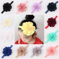 Baby Girls Hair Band Accessories Chiffon Flower Headbands Headdress Elastic Nylon Hairbands for Newborn Infant Toddler Kids Kimter-W44F