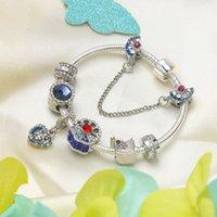 2021 new women fashion blue zircon bracelet european and american heart pendants bracelets charm Swan decoration alloy beaded bracelet
