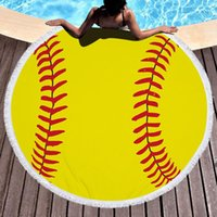 البيسبول softabll كرة السلة كرة القدم الرياضة منشفة الشاطئ مع شرابة جولة المناشف الشاطئ للنساء حمامات الشمس المناشف بطانية DHE6998