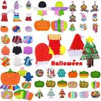 Boże Narodzenie Halloween Favor Fidget Zabawki Autyzm Potrzebuje Squishy Stres reliever Decompression Zabawki Party Dorosłych Kid Kiść Dye Rainbow Funny Anti Stress Prezent DHL CT19