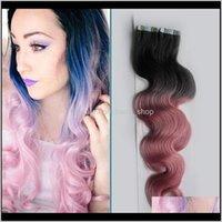 Großhandel - schwarze Asche / rosa Zwei Ton Ombre Human 100g Haut Schusskörper Wellenband Haarverlängerungen MBPYY 2WEHSE